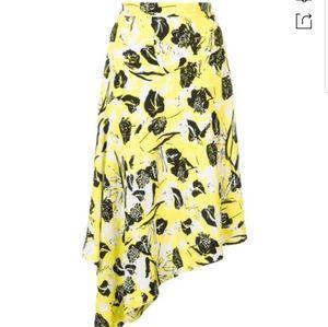 DEREK Lam Asymmetric Printed Crepe Skirt Yellow